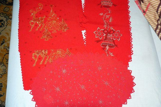 serwetki plus bieżnik czerwone świąteczne