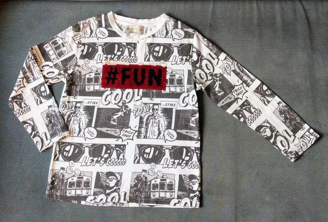 Bluzka ZARA 116 dla chłopca ze zmieniającym napisem