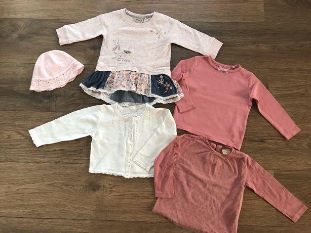 Komplet Next Zara H&M bluzki tunika czapka 80 86