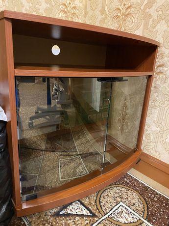 Тумбочка, шкафчик деревянный стеклянный зеркальный