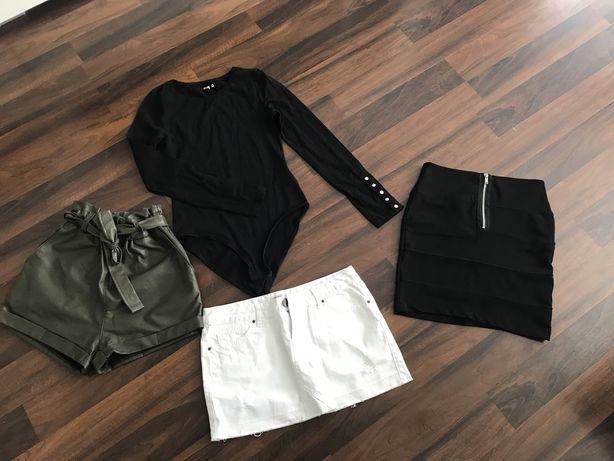 Paka ubran zestaw body szorty spodniczki mini S