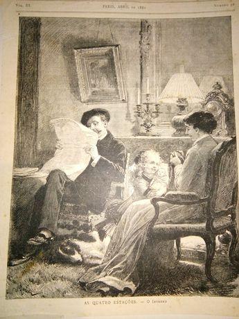 Impressões de jornal de 1881 de artistas do século XIX