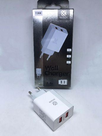 Carregador de parede 2 USB Fast Charging (2.4Amp) - Transformador USB