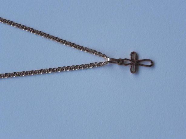 Złoty (14 k) łańcyszek z krzyżykiem