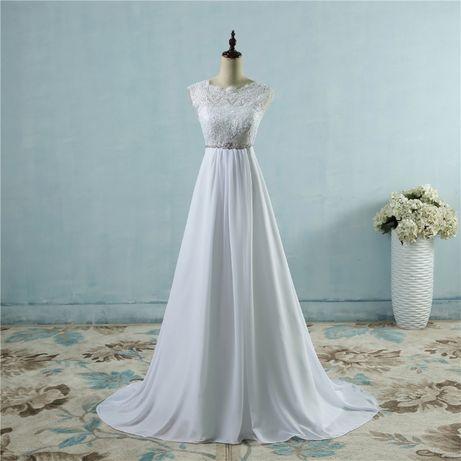 suknia ślubna ciążowa wiązana 34, 36,38, 40,42,44, 46, 46W, 48W, 50-54