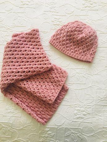 Komplet szalik czapka na zimę anilana włóczka ręcznie robione