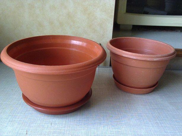 Горшки (вазоны-кашпо) для садовых/комнатных цветов (разные) пластик №2
