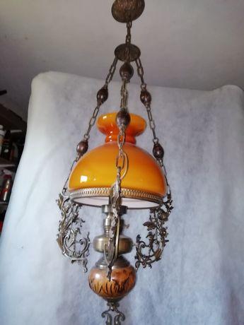 Żyrandol, lampa wisząca mosiądz antyk 126cm