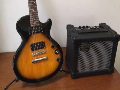 Epiphone Les Paul com amplificador Roland