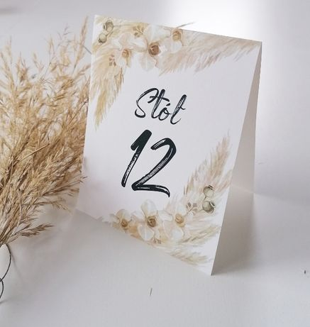 Numerki na stół weselny z motywem trawy