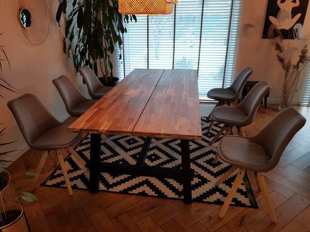 Skandynawskie krzesło tapicerowane jasnoszare