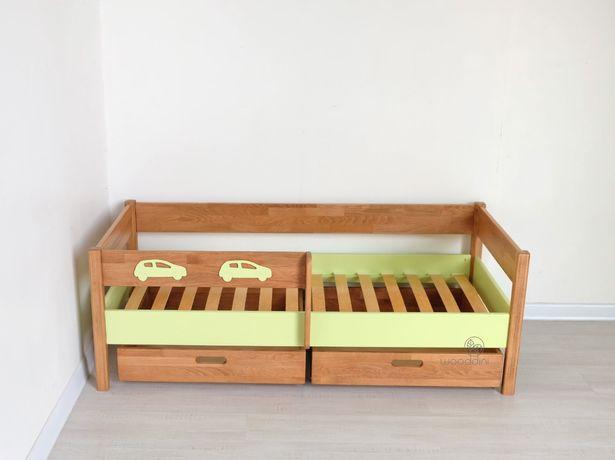 Кровать буковая Арвен Мория М 80х160 с защитным бортиком и ящиками.