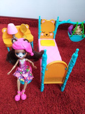 Zestaw enchantimals słodka sypialnia, lalka, miś i mebelki