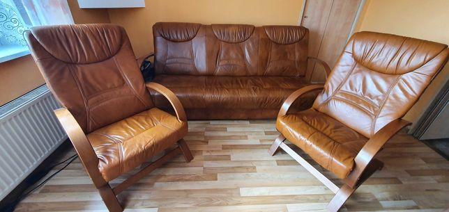 Komplet wypoczynkowy, sofa i fotele, skóra naturalna