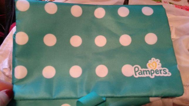 pampers памперс типа для удобства сумка косметичка голубая горох