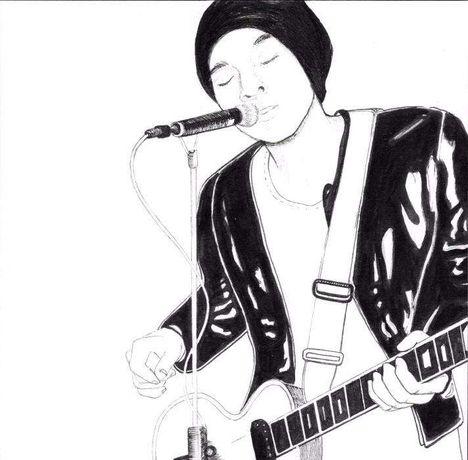 Desenho ilustração original rock guitarra música tinta-da-china 12x12c