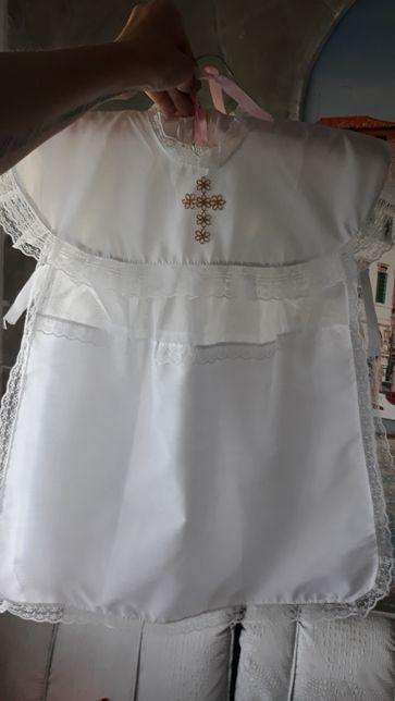 Белоснежная накидушка платье на крещение ребенка, новое