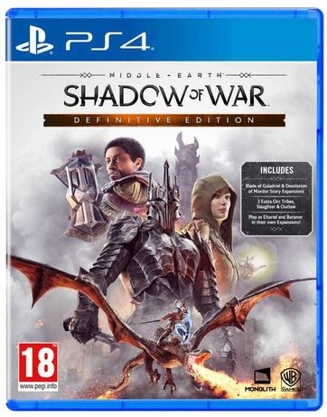 Jogo PS4 Shadow Of War Definitive Edition Com DLCs (NOVO Selado)