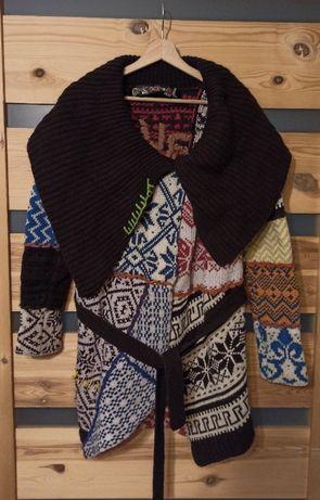 Desigual sweter wełniany kardigan retro vintage