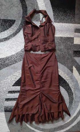 Brązowa spódnica + gorset (komplet)   Staromodne/Vintage