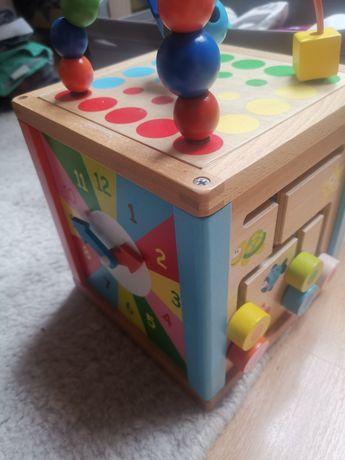 Liczydło, przeplatanka, kostka sensoryczna drewniane montessori