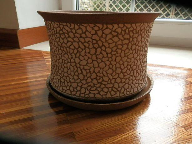 doniczka ceramiczna gliniana, doniczki komplet 24cm z podstawką brąz