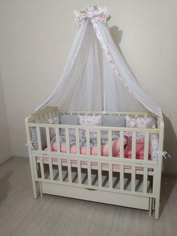 Кроватка детская с Новым бельем,с маятником и ящиком(кровать)