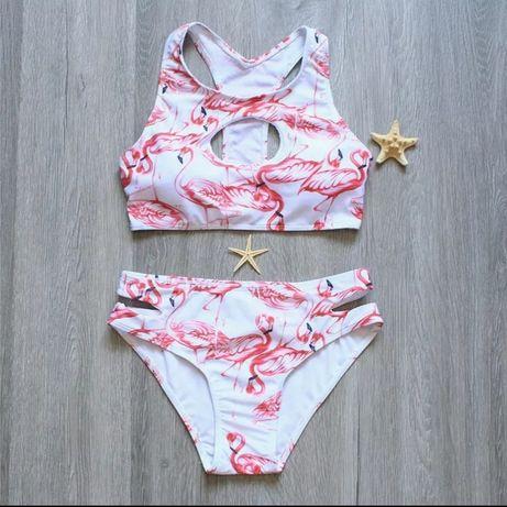 Купальник фламинго белый