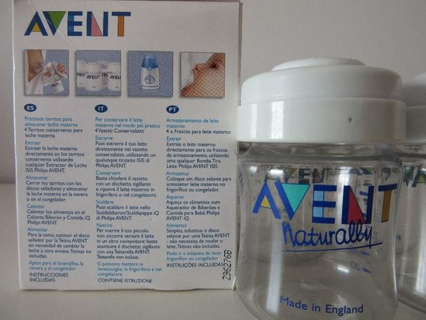 2 frascos para armazenamento de leite materno / biberao 125 ml avent