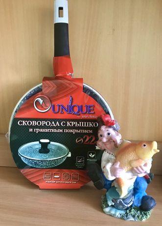 Сковорода Unique с крышкой и гранитным покрытием 22 см новая Киев