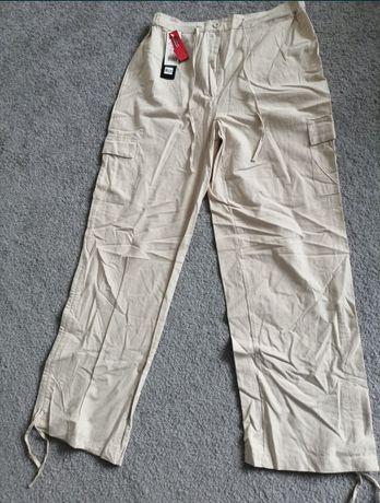 Spodnie lniane bawełniane przewiewne l xl xl beżowe ecru bojówki