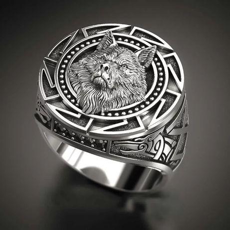 Кольцо\перстень\ в стиле Викингов Голова Волка (панк\винтаж/рок/гот)