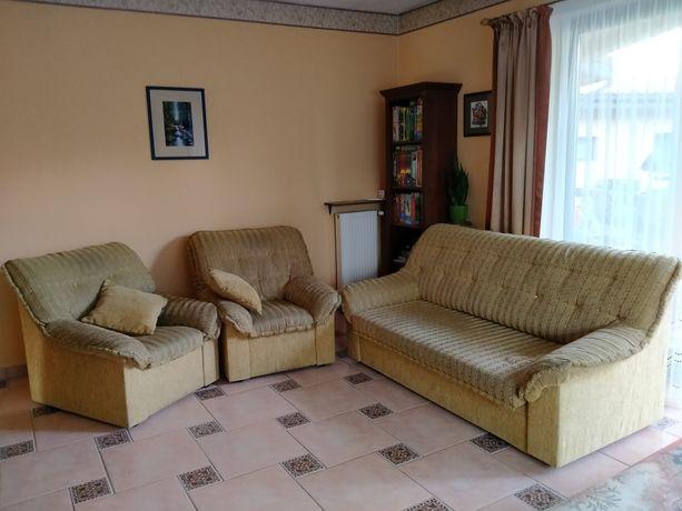 Zestaw wypoczynkowy sofa rozkładana i 2 fotele