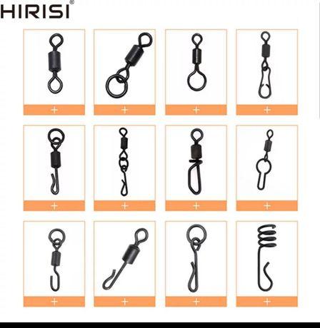 Крепления, вертлюги, кольца, бусины, стопорки HIRISI для рыбалки