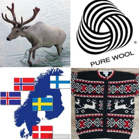 44, XXL, Wełniany sweter - styl skandynawski, norweski. Renifery.