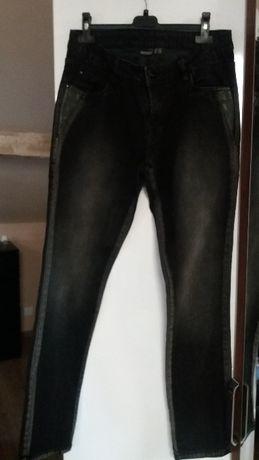 Spodnie jeansowe czarne przecierane z wstawkami skórzanym
