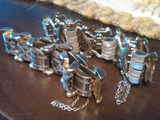 2 sztuki bransoletki mosiężne mosiądz staroangielskie ładne ciężkie