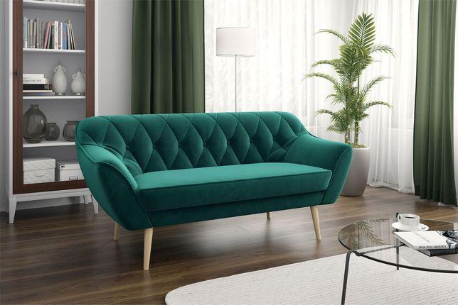 Skandynawska trzyosobowa sofa na wysokich nóżkach butelkowa zieleń