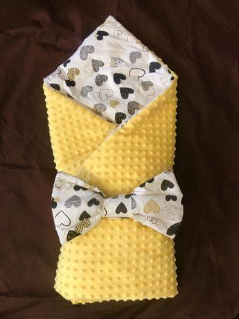 Конверт на выписку, желтый плюшевый с бантом. Одеяло на выписку.