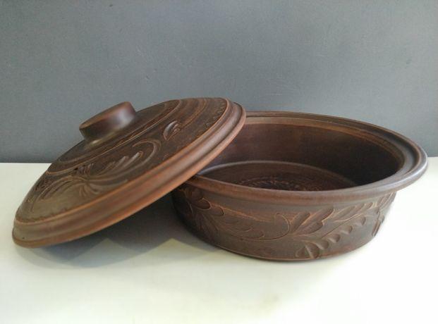 Сковородка из красной глины (колбасник) 1,5л. посуда из керамики