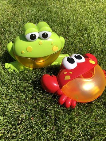 Мыльные пузыри, игрушка для ванной, музыкальный крабик и лягушенок