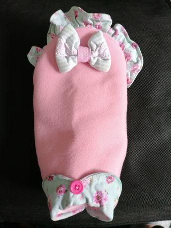 Capa rosa em algodão forrada com pelo para cão de porte pequeno