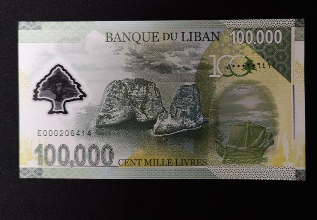 PWPW, Banknot okolicznościowy, Polimer, Liban 100000 UNC