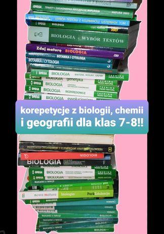 Korepetycje z biologii/chemii/geografii klasy 7-8