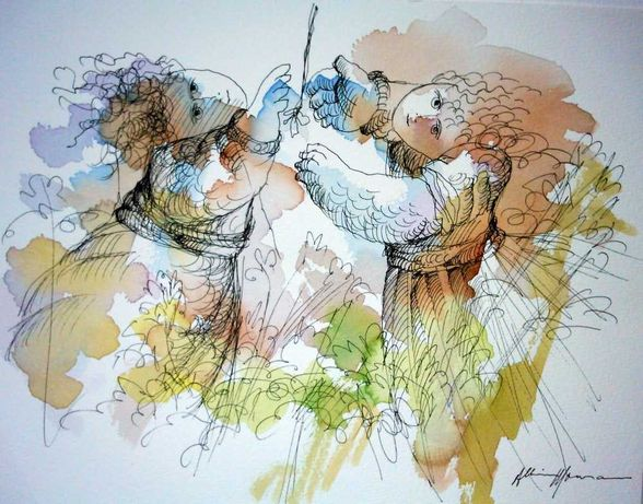Pintura Original de Albino Moura Figuras Femininas