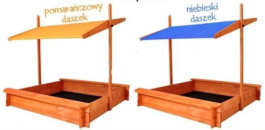 Drewniana piaskownica z daszkiem i dnem