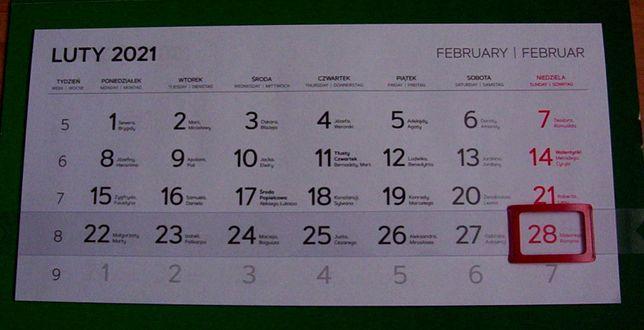 Kalendarz trójdzielny na cały 2021 rok, nowy - zamienię