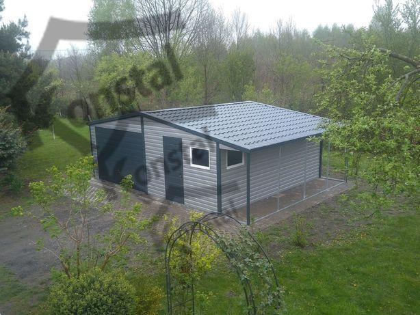 Garaż blaszany 6,5x5 dwuspad EXTRALINE + wiata 1m garaże blaszane okno