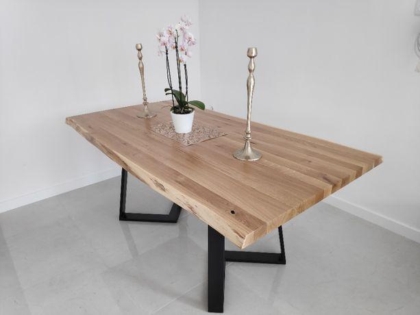 Stół dębowy solidny, industrialny, stalowa podstawa, drewniano stalowy