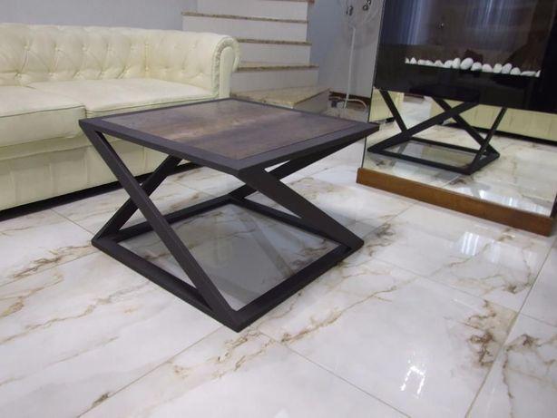 Metalowy stolik kawowy, ława - loft, industrial